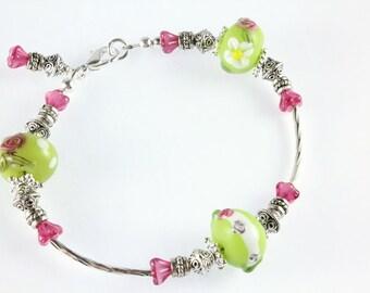 Floral Lampwork Bracelet, Green, Pink White