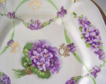 Antique Cake Plate Purple Bouquet Green Ribbon Serving Plate Dessert Plate ES Prufsi 1910s