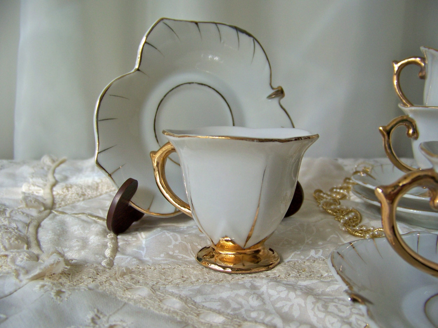 antique demitasse cup and saucer set of four by cynthiasattic. Black Bedroom Furniture Sets. Home Design Ideas
