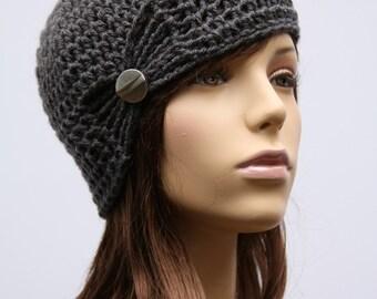 Grey gathered Cloche Hat