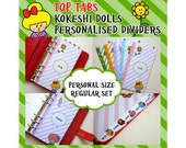 SIZE: PERSONAL (Top Tabs) Personalised Dividers with Tabs Cute Kawaii Kokeshi Momiji Dolls Custom Made Filofax