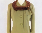 1950s Green Wool Jacket with Mink Trim