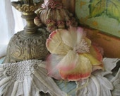 Vintage Millinery Large Velvet & Sheer Ombre Pink Peach Yellow Fabric Rose Corsage Brooch Pin