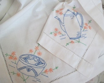 Vintage Tablecloth TEA TIME White Teapot Cup Saucer Hand Embroidery  Drawnwork 39x39 R9