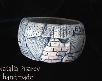 Polymer Clay Embossed Bangle, Organic Bangle