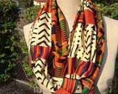 Mixed African Print  Infinity Scarf Kente/Mudcloth