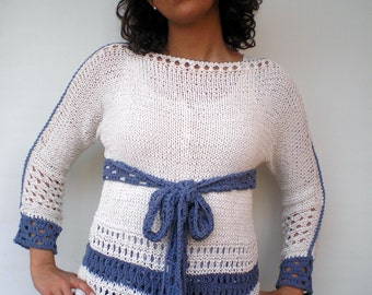 Sailor Lace  Sweater Trendy  Opaque Silk Hand Knit Woman Sweater NEW