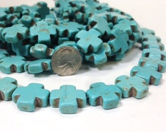 Full strand of Large hole Howlite Turquoise Cross Beads - 1.7 mm hole - December Birthstones (G5925Q2)