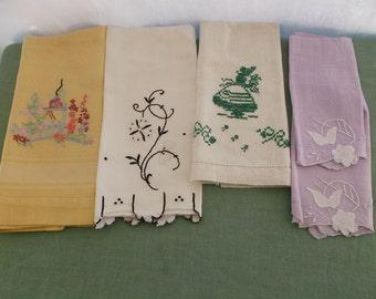 Vintage Towels 5 Piece Assortment Fingertip Guest or Tea Towels