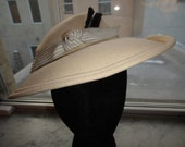 SALE White Felt Hat  With Black Feather