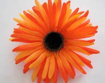 Orange Spider Daisy Silk Flower Hair Clip Brooch Combo