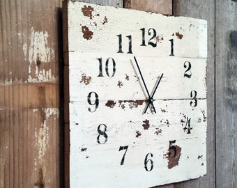 Rustic Wood Clock Like Pallet Clock distressed aged Primitive Shabby Cottage Chic Fixer Upper Christmas Gift Boho