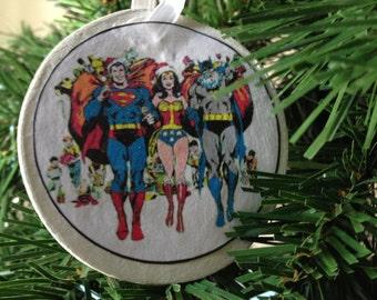Retro Super Friends (Superman, Wonder Woman, Batman) Christmas Image Ornament
