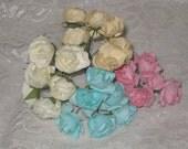 24 Paper Flowers Vintage Style Millinery Mulberry Paper Flowers AssortmentECS