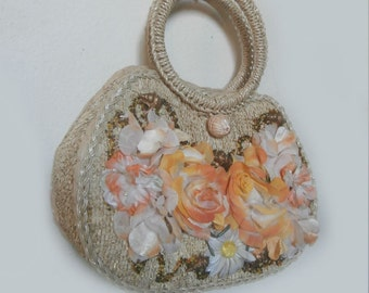 Unique Vintage Shell and Flower Handbag