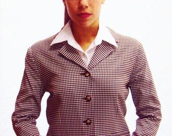 Houndstooth Blazer / boxy shape /  checkered brown + white / skinny fit / s / m / Karen Kane label