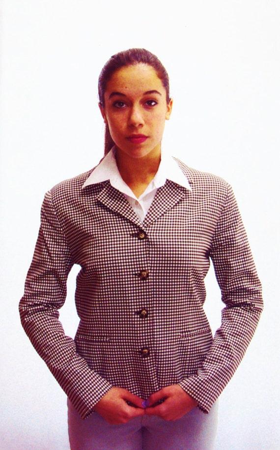 Cropped Checkered Blazer / boxy shape /  brown + white / s / m / Karen Kane label