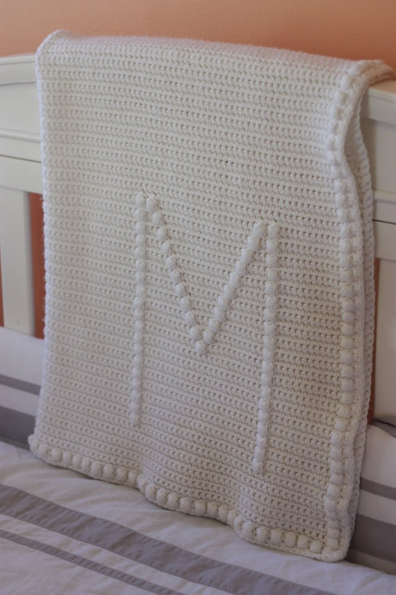 Items similar to Crochet Monogram Baby Blanket PATTERN on Etsy