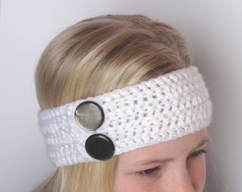 Crochet Head/Ear Warmer - White with Gray Buttons - Junior to Adult