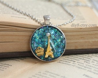 Trip to Paris Together  Effiel Tower Pendant Necklace Chain   0113-11MN