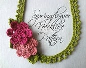 Crochet PDF Pattern Springflower necklace - crochted necklace, crochet flowers, flower necklace, crochet pattern, photo tutorial