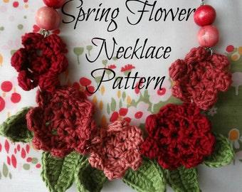 Crochet PDF Pattern Springflower necklace #2 - crocheted necklace, crochet flowers, flower necklace, crochet pattern, photo tutorial