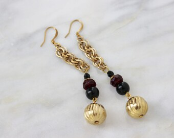 Vintage Earrings Reconstructed Statement Gold Red Black Duster Drop