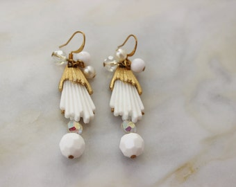 White Gold Bead Mid Century Drop OOAK Reconstructed Vintage Costume Jewelry