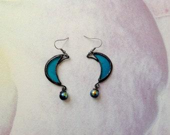 Blue Moon Earrings, Stained Glass Earrings, Hand Made Earrings