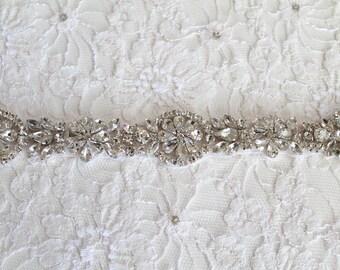 Bridal Silver or Gold Crystal Sash.  Rhinestone Wedding Belt.  OPHELIA