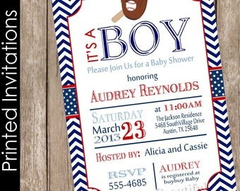 Baseball baby shower invitation, boy baby shower invitation, printed baby shower invitation, chevron baby shower invitation,(FREE ENVELOPES)