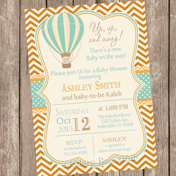 Hot Air Balloon Baby Shower Invitation, up up and away, chevron, baby
