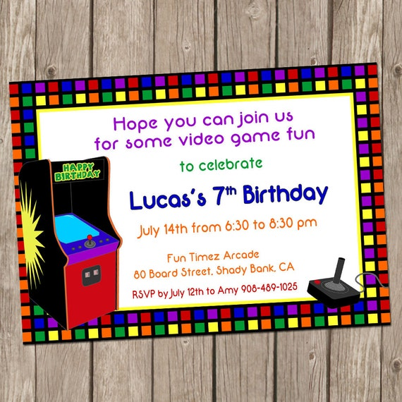 Video Game Birthday Invitation Arcade Birthday Arcade