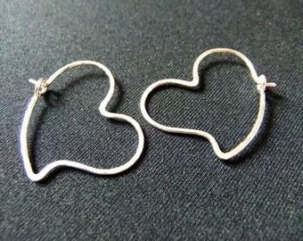 Small Heart Shaped Hoops Sterling Silver Heart Earrings Hammered Heart Hoop Earrings Hand Shaped Love Romance Heart Hoops