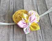 headband small petite yellow and pink lemonade theme, rolled rosette tiny  for newborn-toddler-baby girl-teen-adult