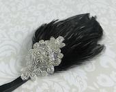 Silver Beaded Headpiece, Flapper Dress Headpiece, Art Deco Feather Headbands for 1920s Dresses, 1920s Flapper Headband