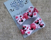 Mini Bow Clip Set/Minnie Heart Clips/Mouse Ears/Inspired by Minnie Mouse/No Slip Hair Clips/Pigtails