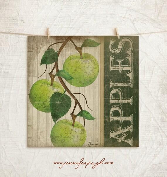 Vintage green apples 12x12 print kitchen by - Green apple kitchen decor ...