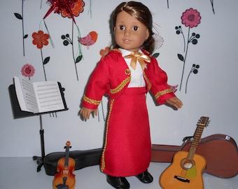 Mariachi charra suit traje red gabardine gold trim for American Girl doll or similar 18 in handmade