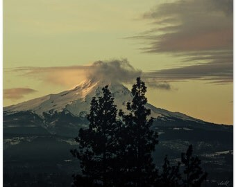 Mt Hood photography, oregon, mountain photography, clouds, fine art print