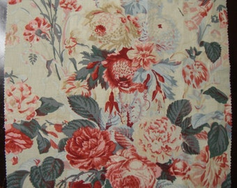 Cotton Print Floral Fabric Sample  Soft Mint Green with Pink to Red Peonies and Fushias