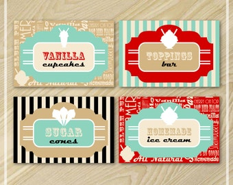 Ice Cream Party - Buffet Food Labels - Ice Cream Labels