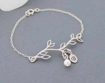 Personalized Branch Bracelet, Delicate Silver Twig with Initial Freshwater Pearl Bridesmaid Jewelry Mothers  Christmas Gift Mothers Bracelet