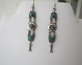 Vintage Malachite sterling silver earrings, Tribal Long Dangle earrings