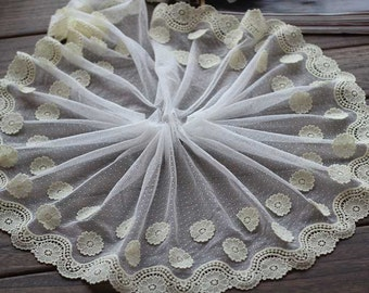 2 Yards Embroidered Lace Trim Cream Tulle Lace Trim Light Yellow Flowers Embroidered Lace 6.69 Inches Wide