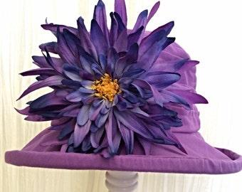OOAK Purple multi sized summer hat