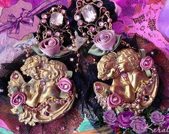 SALE!- Large Black Lace Kissing Cupids Statement Earrings, Unique Costume Fantasy Cherub Jewelry, Ornate Angel Earrings, Clip-On Option
