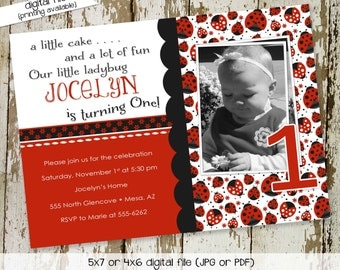 ladybug birthday invitation baby girl shower ultrasound first photo sprinkle sip and see diaper baptism (item 218) shabby chic invitations