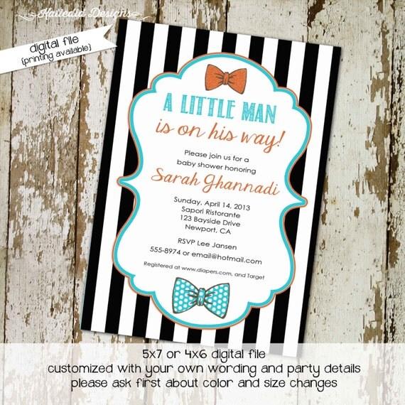 bow tie baby shower invitation little gentleman baby boy shower black and white stripe shower diaper bash (item 1299) shabby chic invitation