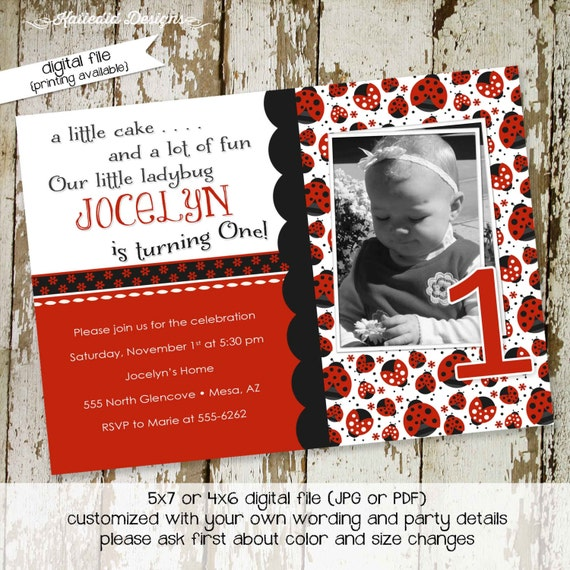 little girl 1st birthday invitation sonogram pregnancy announcement rustic baby girl shower ladybug theme black white 218 Katiedid Designs